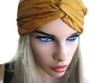 Mustard yellow turban-Semi Metallic -Adult turban headband in Mustard yellow-Many colors to choose from