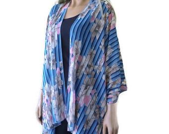 Blue Pink and Beige Boho Kimono cardigan-Floral print kimono-Chiffon Ruana-Many colors