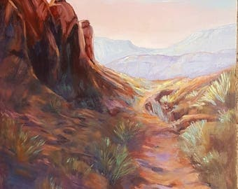 Large original Southwest landscape oil painting, western art, utah landscape oil painting, Snow Canyon art, home decor,wall decor,desert art