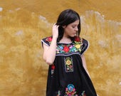 Black and multi colored embroidery Puebla Dress