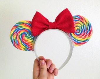Rainbow Lollipop Minnie Mickey Mouse Ears Holographic Holo Star Headband, Sweet Treat Inspired!