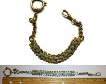 Vintage Watch Fob Chain Chrome Brass Teal Enamel. Jakob Bengel German Industrial style.