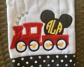 Mickey train with baby monogram