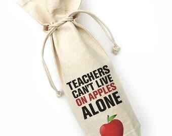 Wine bag, teacher gift, teacher wine bag, back to school gift, canvas wine gift bag, wine gift bag