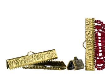 150pcs.  30mm  ( 1 3/16 inch )  Antique Bronze Ribbon Clamp End Crimps - Artisan Series