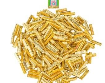 500pcs.  25mm or 1 inch - Gold No Loop Ribbon Clamp End Crimps - Artisan Series