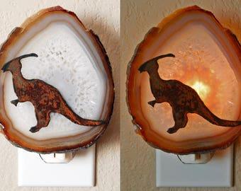 Agate Slice n Dinosaur Night Light - Your Choice, Geode Nightlight, Science Home Decor, Brontosaurus, Ceratopsian, Hadrosaur, Paleontology
