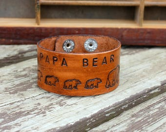 Men's Papa Bear Wide Cuff Bracelet, Gift for Dad, Papa Gift, Gift for Daddy from Kids, Third Year Anniversary Gift