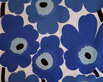 Marimekko vintage PIENI UNIKKO  Poppy fabric cotton dark blue and white Maija Isola 1965