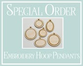 Reserved Listing Mixed Lot of Embroidery Hoop Pendants Walnut Total 20