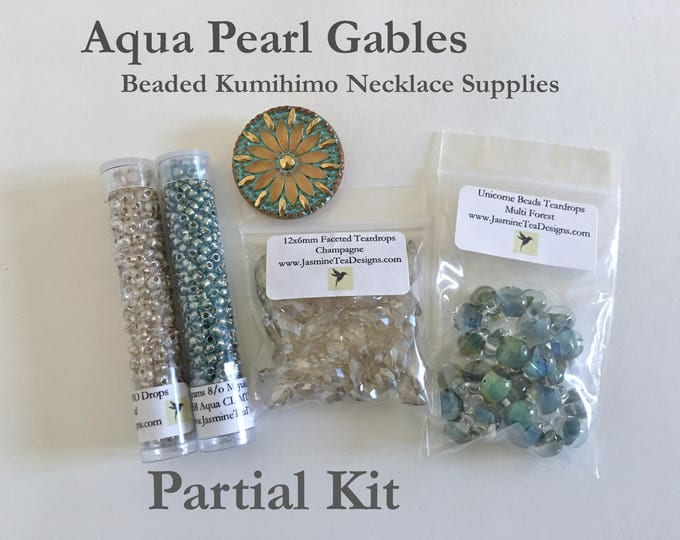 Aqua Pearl Gables Beads and Button Only Kit, Partial Kit for Aqua Pearl Gables Beaded Kumihimo Necklace