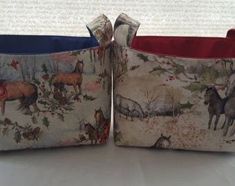 Fabric Organizer Basket Storage Container - Christmas Horses  or Winter Horses - Bin