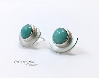 Amazonite Earring Studs, Sterling Silver Fan Shaped Stud Earrings, Amazonite Earrings, Gemstone Earrings Jewelry, Metalsmith Jewelry