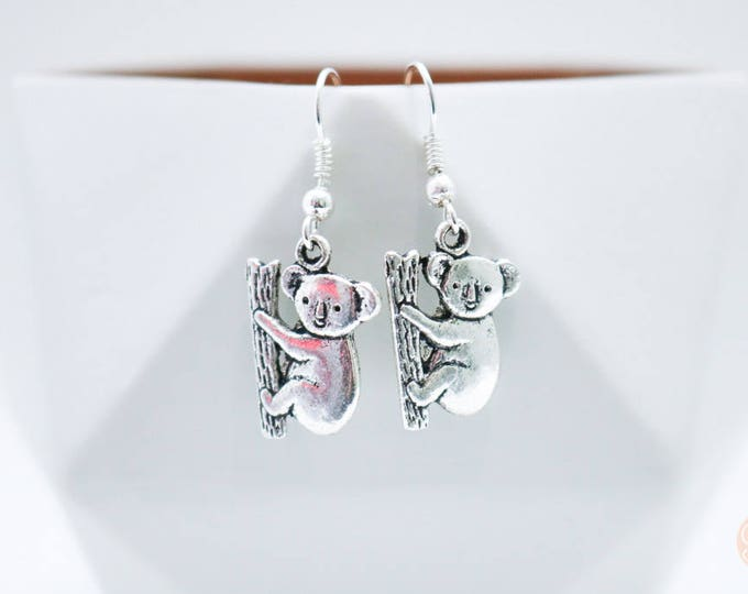 Australian Koala Silver Drop Earrings.