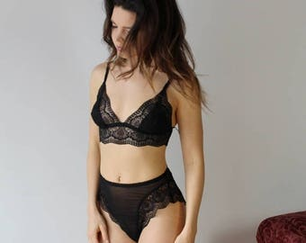 lace lingerie set including high cut panties and triangle bralette - womens lingerie range - ROMANTIC - made to order