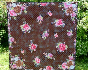 MarveLes  STORY  QUILT Lap Size in Chocolate Brown Grunge Dot Fabric Roses Pastel Word Story  Cozy Quilt Multiple