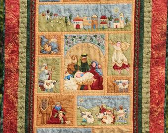 Marveles CHRISTMAS NATIVITY Jesus Mary Joseph Manger Wall Hanging Quilt with Glitter