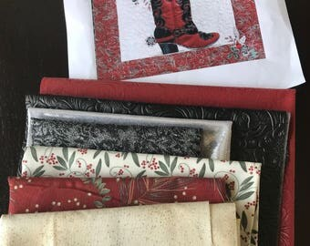 MarveLes MINI  Fabric KIT for Boot and Floral Collage Red &  Black Faux Leather with PATTERN for Boot Cut Blooms Western Floral Bouquet