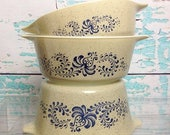 SALE Vtg Pyrex Homestead casseroles 471 472 473 No lids Cooking Baking Vintage Kitchen Chef Food Storage