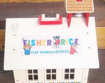 SALE Vintage Fisher Price Play Family Scool house toy building for Little People.