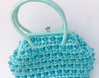 SALE Vintage small aqua turquoise straw beaded wicker handbag purse. Vintage bag.