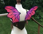 Reserved for Tricia S. - Two tone Burgundy with Black Small Dragon Wingalings Costume Fairy Wings
