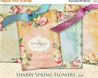 SALE - 30%OFF - Shabby Spring Flowers Tags - ACEO Cads - Digital Tags - set of 6 - 2,5x3,5 inches Atc cards - digital download