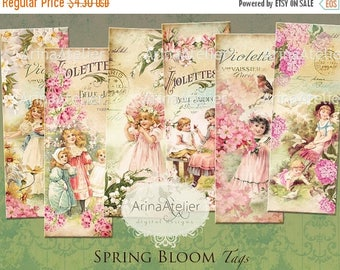 SALE 30% OFF - Spring bloom Bookmarks - Digital Collage Tags - Shabby chic Collage Tags -  Hang Tags - Vintage Collage - gift Tags, scrapboo