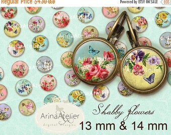 SALE 30% OFF - Circles Shabby Flowers 13mm & 14mm - Digital collage Sheet - Circle SHABBY Roses - Digital Collage Sheet for 12 mm pairs of e
