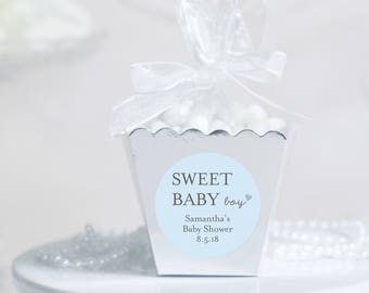 12 Baby Shower Boxes - Baby Boy Shower Favors - Custom Shower Favors - Personalized Shower Favors - Silver Favor Boxes - Candy Favor Boxes