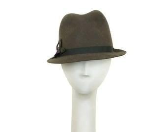 Gray Fedora Hat for Women, Felt Hat, Womens Winter Hat Ladies Fedora Womens Fedora Ladies Hat, Womens Hat, Snap Brim Hat, Millinery Hat OOAK