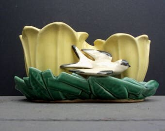McCoy Planter Double Tulip with Bird Yellow and Green Pottery Planter