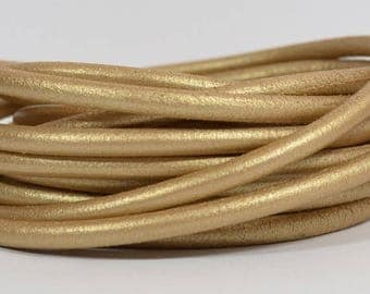 25% Off High End Portuguese 5mm Round Leather - Metallic Gold - 5RP-1M - Choose Your Length