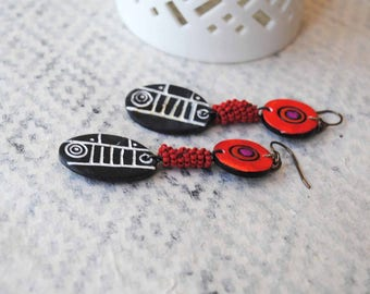 Ethnic Earrings, Black Red Earrings, Polymer Clay Earrings, Light Weight Earrings, Tribal Earrings, Unique Artisan Earrings, Boho Earrings