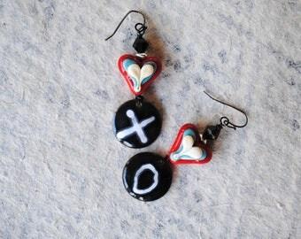 Valentine's Day Jewelry, Red Heart Earrings, XO Earrings, Artisan Enamel, Lampwork Bead Earrings, Red Heart Earrings, Valentine Gift for Her