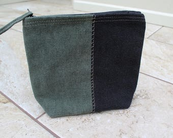 Utility Pouch, Black and Green Recycled Denim, Unisex Pouch, Upcycled Makeup Bag
