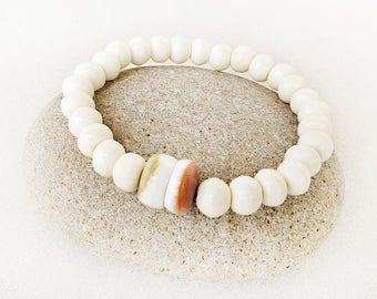 Bone Bracelet, Mala Style, Shell, Neutral, Stretch, Stacking, Yoga, Zen, Meditation, Boho, Handmade Jewelry, Gift for Woman, Gift for Teen