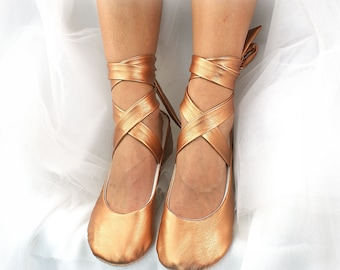 Faux Leather Ballet Shoes Flats in Bronze, Rose Gold, Wedding Ballet Flats with Ankle Ties