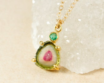 Green Emerald and Raw Watermelon Tourmaline Slice Necklace - Gold Filled - One of a Kind