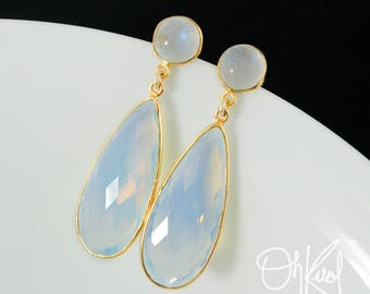Gold Rainbow Moonstone & White Opalite Teardrop Earrings - Milky Opalite Earrings