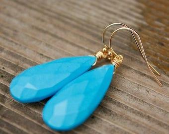 ON SALE Sleeping Beauty Turquoise Gemstone Earrings - Wire Wrapped Earrings - 14KT Gold Fill