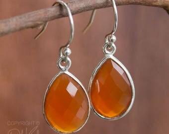 ON SALE Silver Red Carnelian Teardrop Earrings - Gemstone Earrings