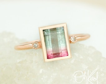 Watermelon Tourmaline Ring - Emerald Cut Tourmaline - Diamond Accent