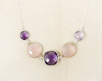 Silver Pink Chalcedony and Purple Amethyst Quartz Bib Necklace - 925 Silver, Pink and Purple, February Birthstone