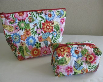 Birds and Flowers Quilted Pouch Set