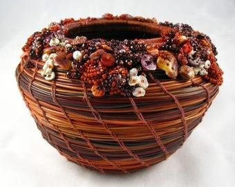 Embellished  Dyed Pine Needle Basket by Marcie Stone