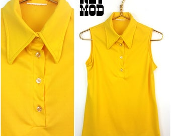 Easy Vintage 70s Bright Yellow Sleeveless Top with Pointed Collar