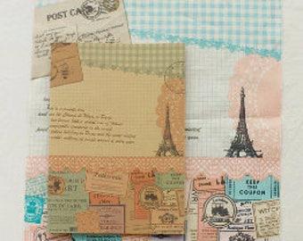Collages Illus Anna and Eiffel on Linen Oxford, U2770