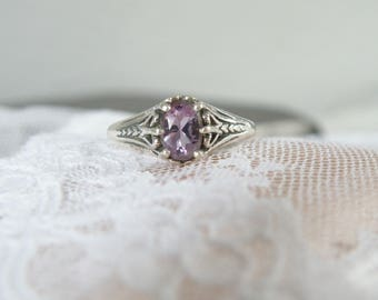 Vintage Victorian Style Sterling Silver 925 Kabana Amethyst Solitaire Ring Size 7