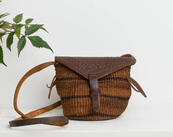 Vintage Mini Sisal Bag - Small Woven Basket Purse with Tooled Leather - Striped Earthy Brown